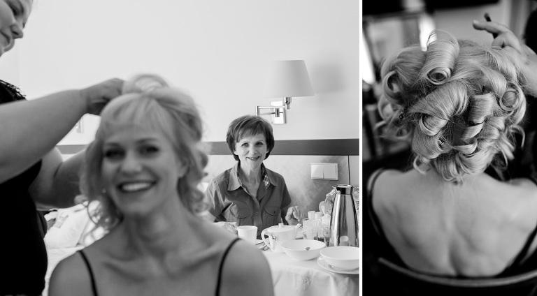 Braut beim Haaremachen bei Hochzeit auf Lingnerschloss fotografiert vom Hochzeitsfotograf in Dresden