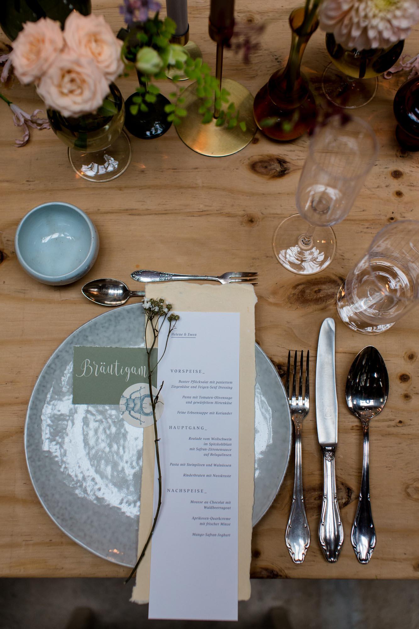 Tischdekoration bei Hochzeit in Dresden